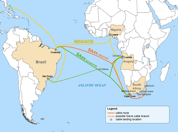 South Atlantic cable routes